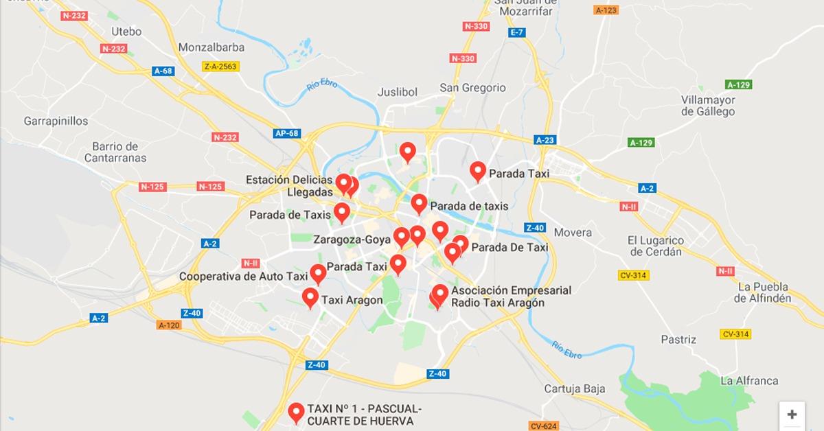 Paradas de Taxi en Zaragoza 2019
